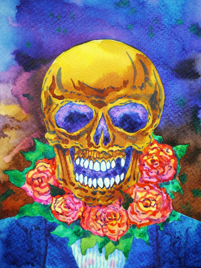 Sugar skull day of the dead halloween watercolor painting illustration design hand drawing. Sugar skull day of the dead halloween watercolor painting stock image