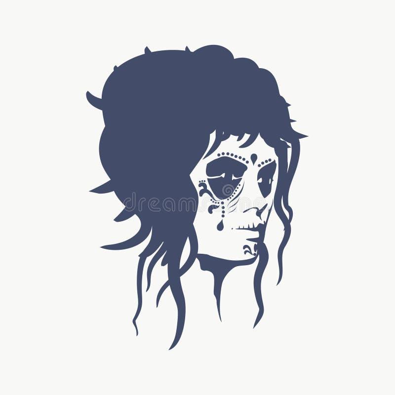 Sugar Skull Face ilustração stock