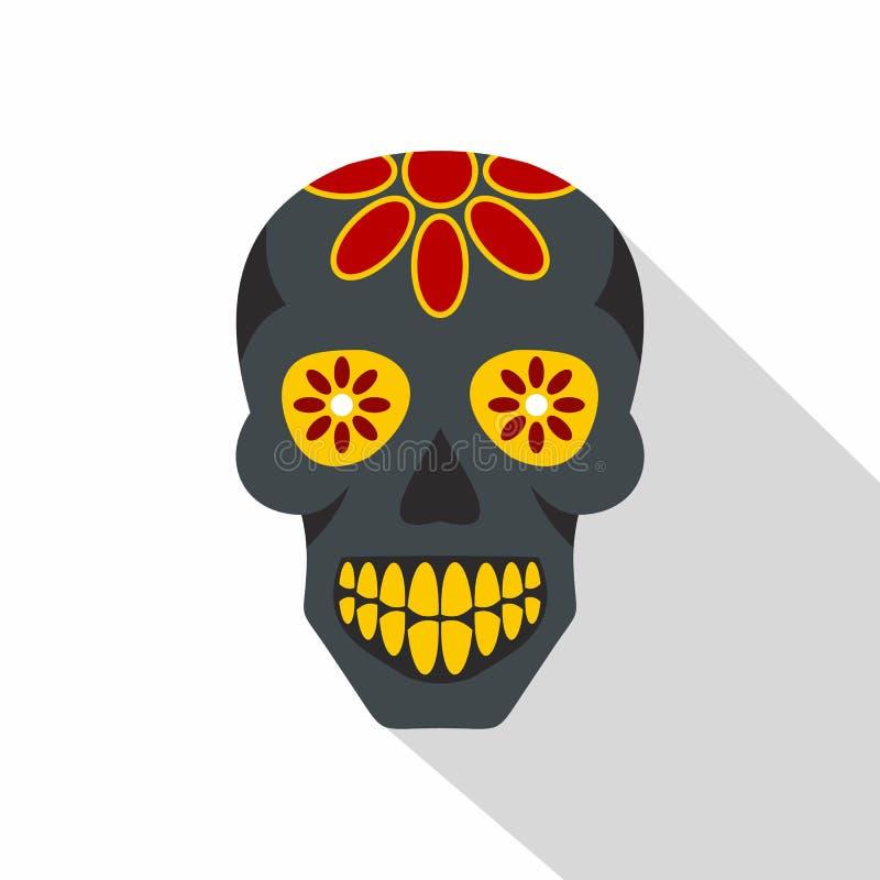 sugar skull flowers on the skull icon flat style stock vector rh dreamstime com sugar skull vector pack sugar skull vector png
