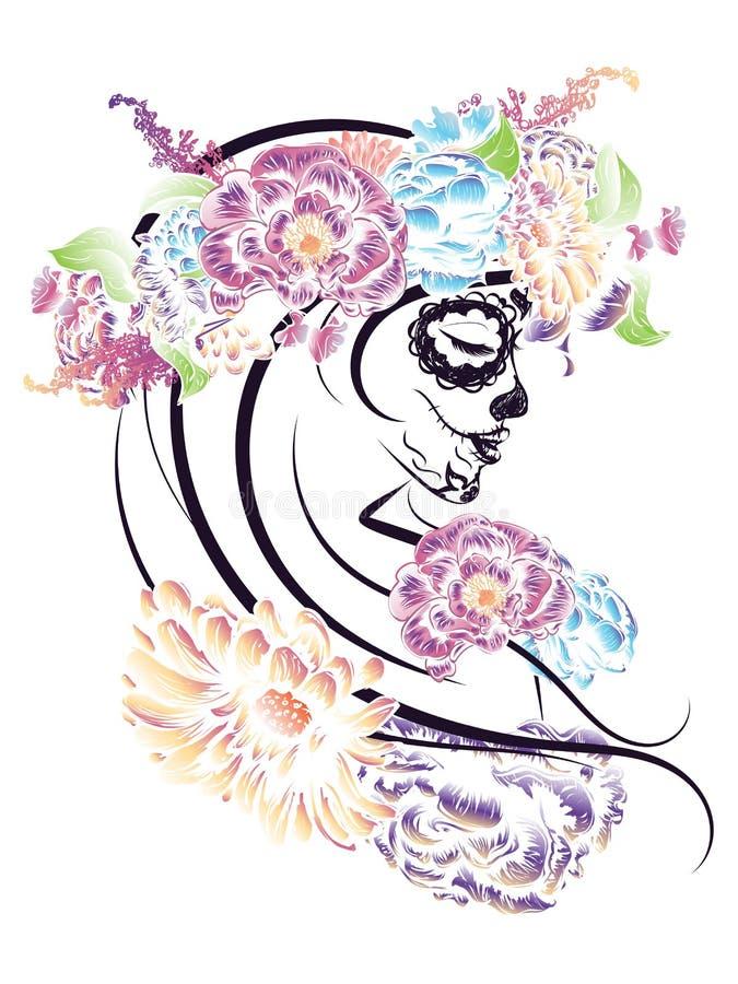 Sugar Skull Girl en corona de la flor ilustración del vector