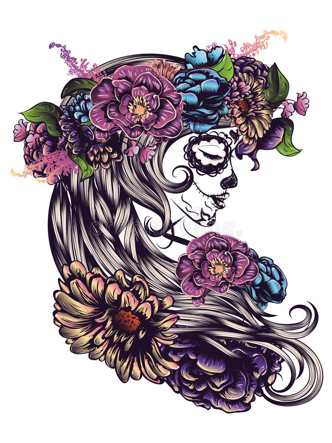 Sugar Skull Girl in Flower Crown royalty free illustration