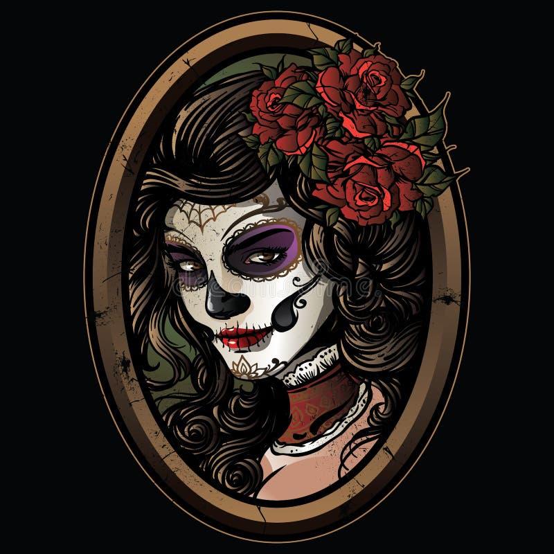 Sugar skull girl illustration stock illustration
