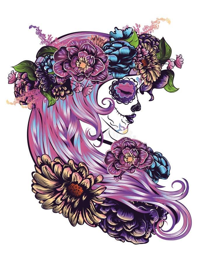 Free Sugar Skull Girl In Flower Crown Stock Photo - 61443220