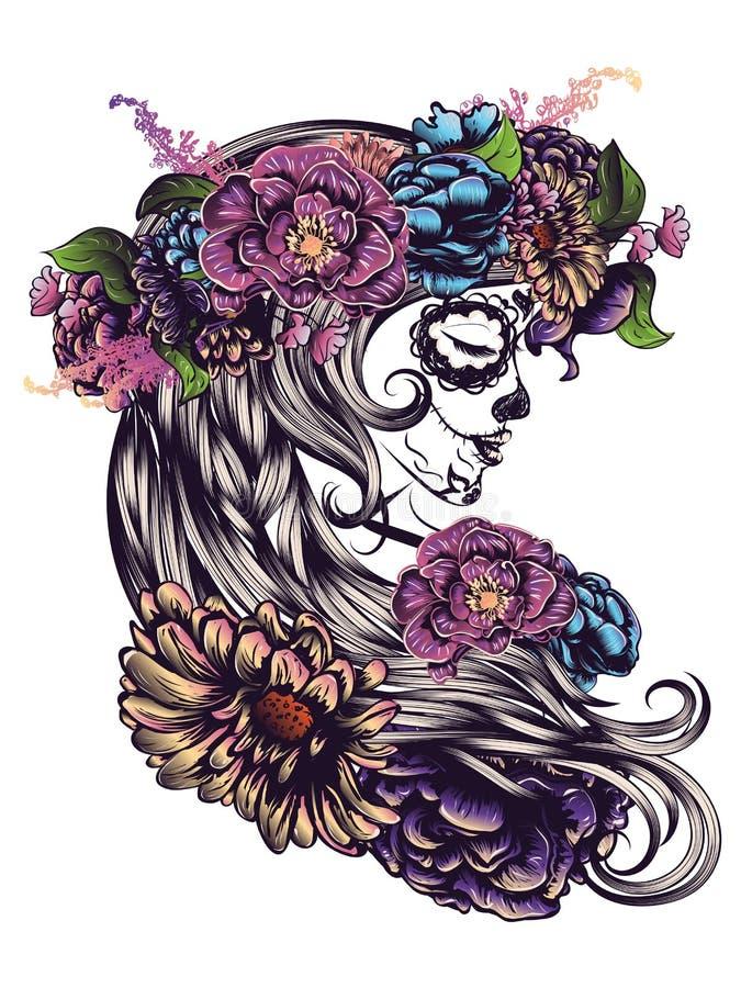 Sugar Skull Girl na coroa da flor ilustração royalty free