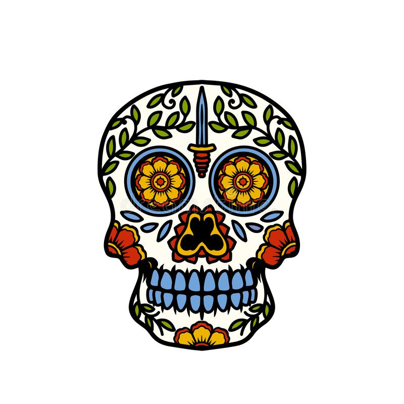 Sugar Skull With Knife Icon image libre de droits