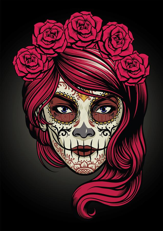 Sugar Skull Lady illustration stock