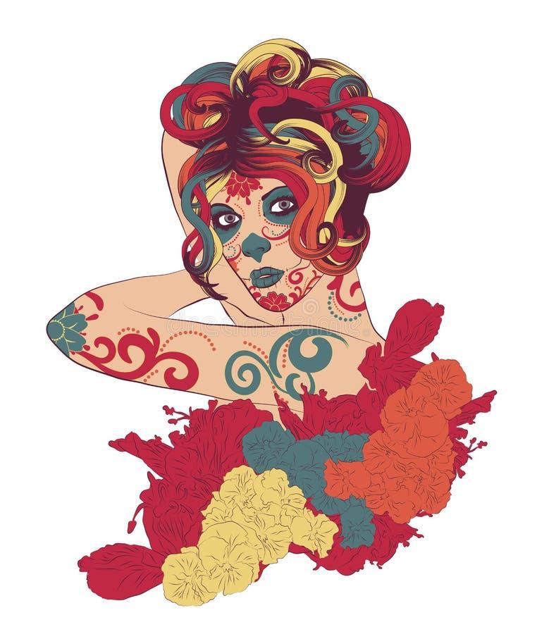 Sugar Skull Lady brilhante e colorido ilustração do vetor