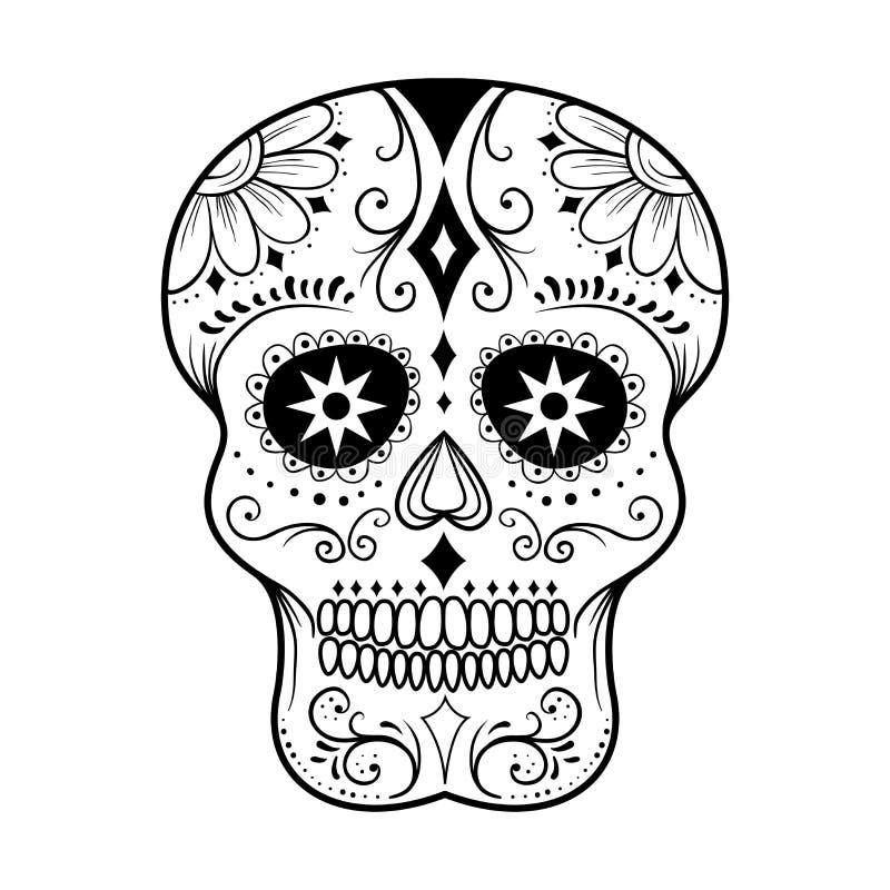 Sugar Skull Line Art stock illustrationer