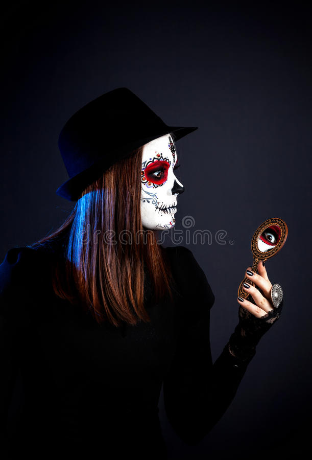 Sugar skull make up royalty free stock photos
