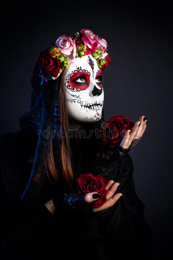 Sugar skull make up stock photography