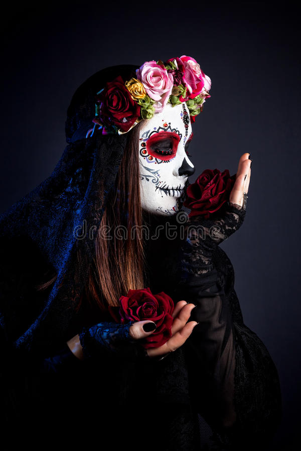 Sugar skull make up royalty free stock photography