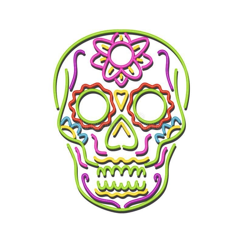 Sugar Skull Neon Sign. Retro style illustration showing a 1990s neon sign light signage lighting of a tattoo decorative sugar skull or calavera on isolated vector illustration