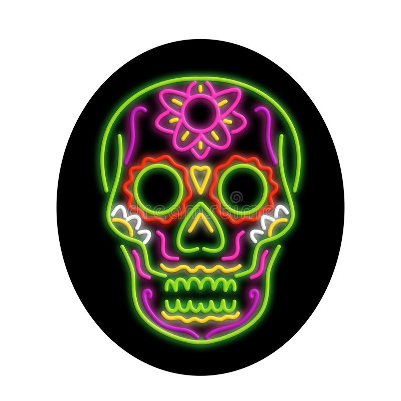 Sugar Skull Oval Neon Sign stock abbildung
