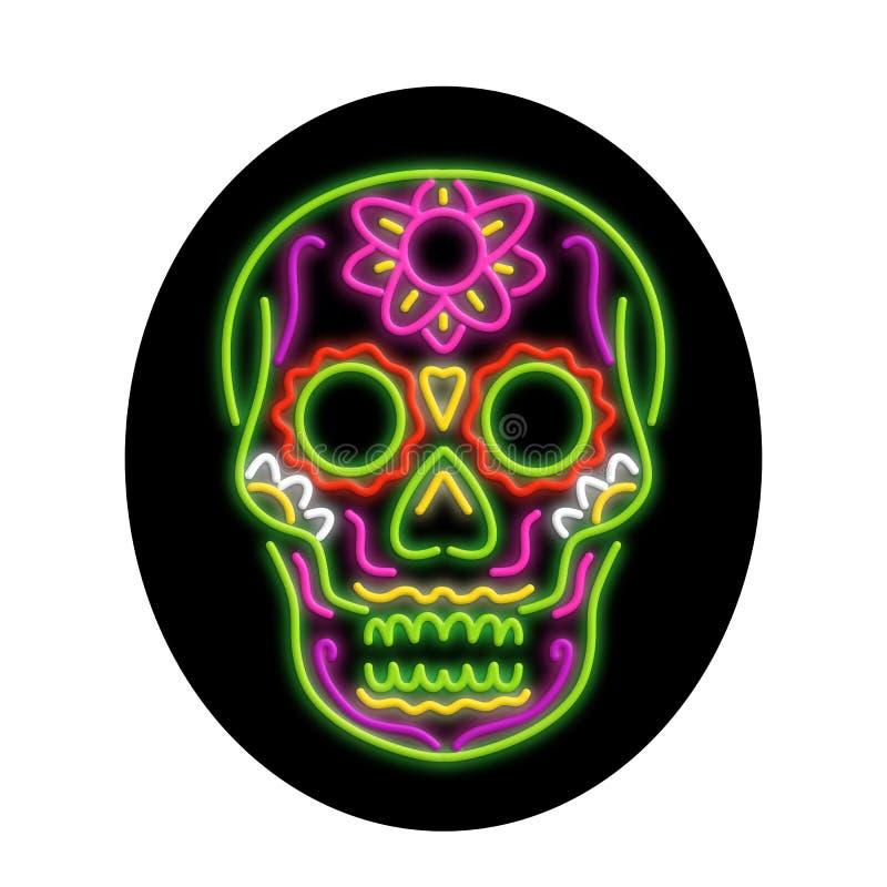 Sugar Skull Oval Neon Sign. Retro style illustration showing a 1990s neon sign light signage lighting of a tattoo decorative sugar skull or calavera set inside stock illustration