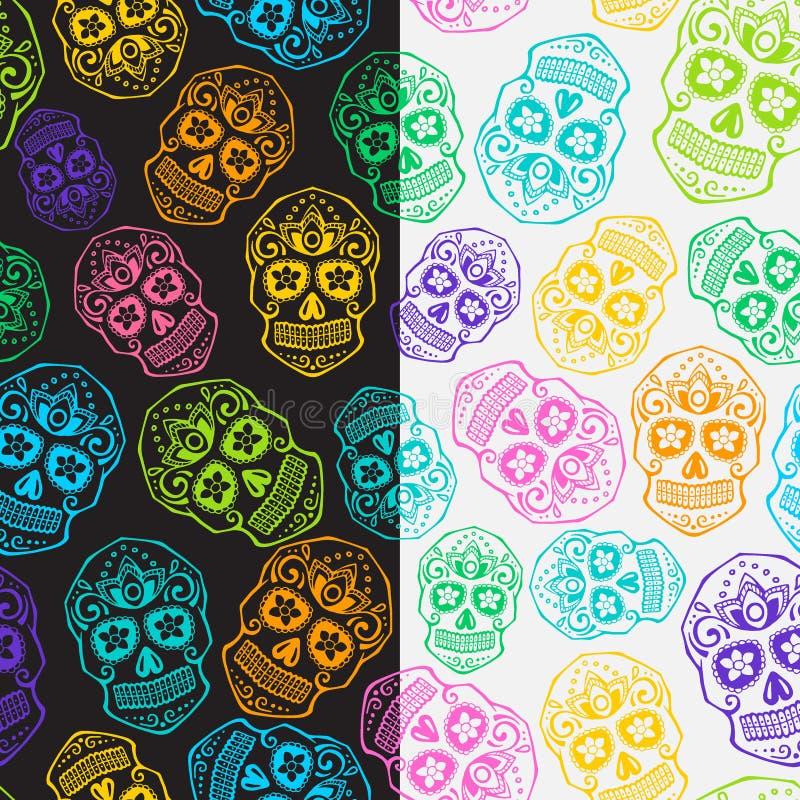 Sugar skull pattern set royalty free illustration