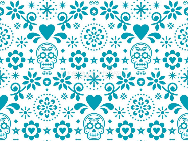 Sugar skull seamless pattern inspired by Mexican folk art, Dia de Los Muertos repetitive design in turquoise on white backg vector illustration