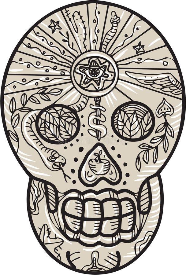 Sugar Skull Tattoo Etching illustration de vecteur