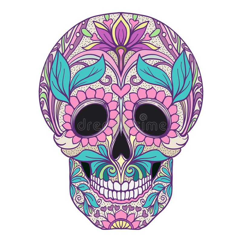 Sugar skull. The traditional symbol of the Day of the Dead. Stoc. K line vector illustration.r vector illustration