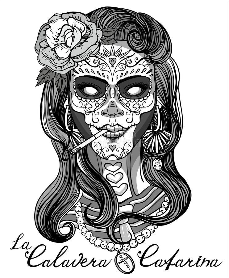 Sugar Skull Woman stock illustrationer