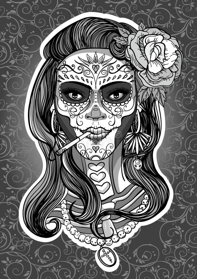 Sugar skull woman stock illustration