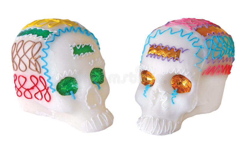 Sugar Skulls. Sugar candy skulls for the day of the death celebrated in the southern states of Mexico stock photo