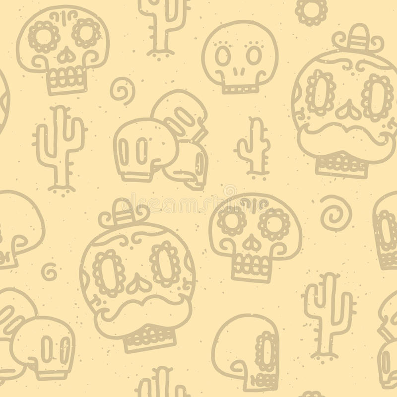Sugar skulls seamless vector pattern vector illustration