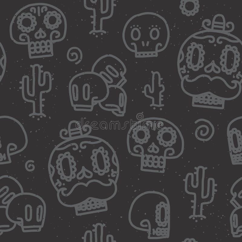 Sugar skulls seamless vector pattern vector illustration