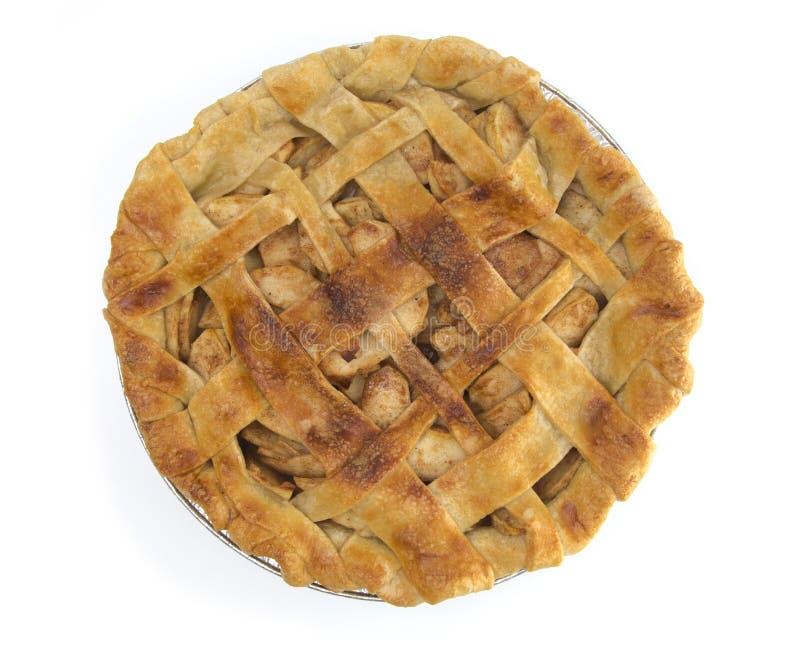 Sugar Sprinkled Homemade Apple Pie isolou-se em uma tabela de madeira branca foto de stock royalty free