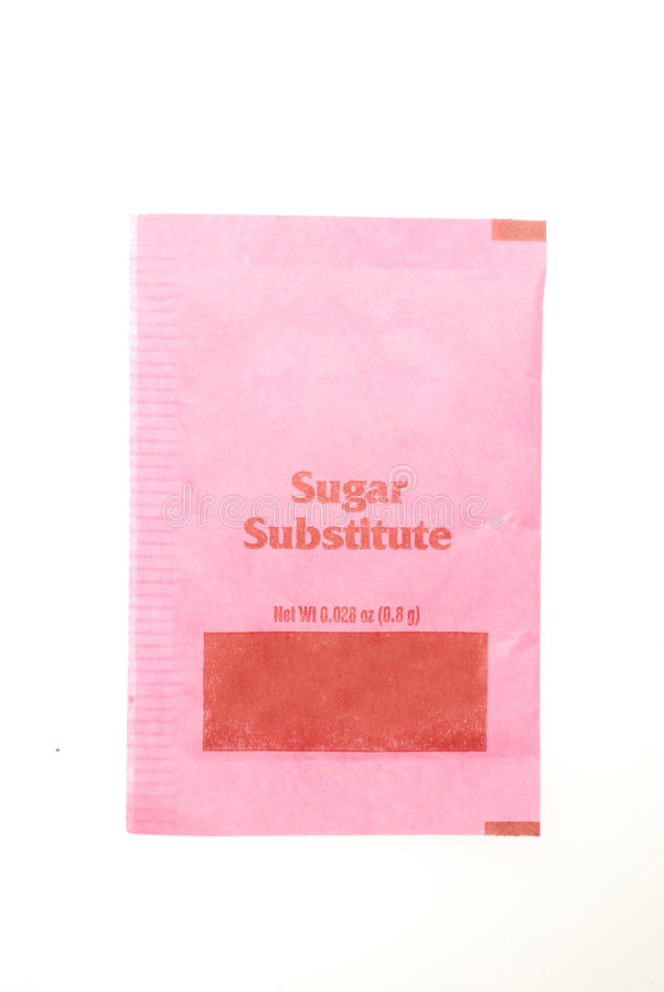 Sugar Substitute Packet. Small packet of sugar substitute isolated on white background royalty free stock photos