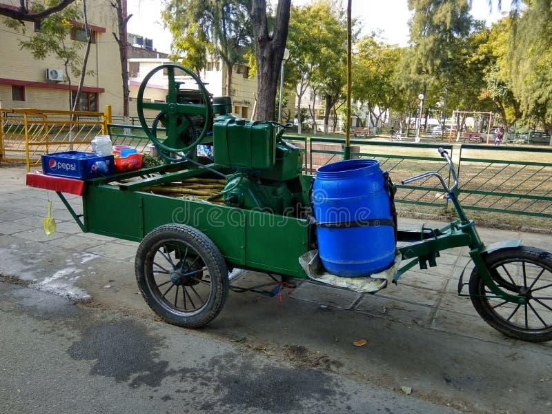 Green Park Phase 4 mohali. Sugarcane Juice Cart in Mohali Punjab India royalty free stock photo