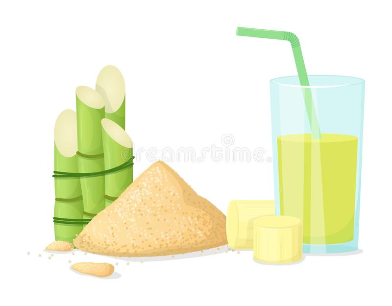 Fresh squeezed sugar cane in glass with stalks, sugar cubes royalty free illustration