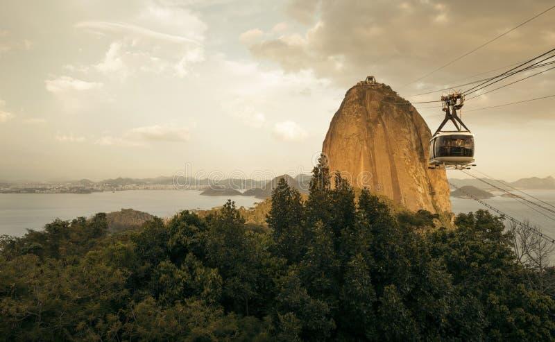 Sugarloaf缆车Bondinho在里约做Pao de Acucar 免版税图库摄影
