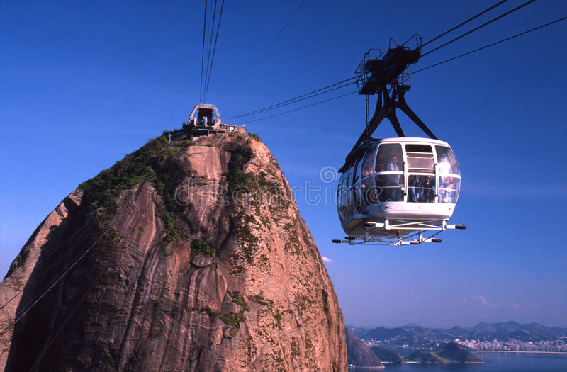 Sugarloaf Cable Car. A cable car descending from Sugarloaf Mountain in Rio de Janeiro, Brazil royalty free stock photography