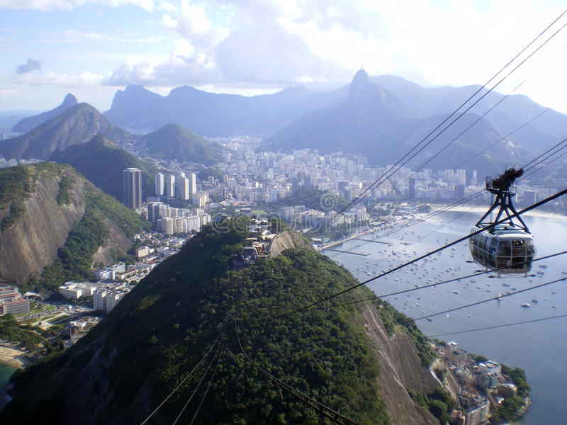 Sugarloaf cable car. Scenic view of a cable car carrying passengers to the top of Sugarloaf, overlooking Rio de Janeiro, Brazil royalty free stock photo