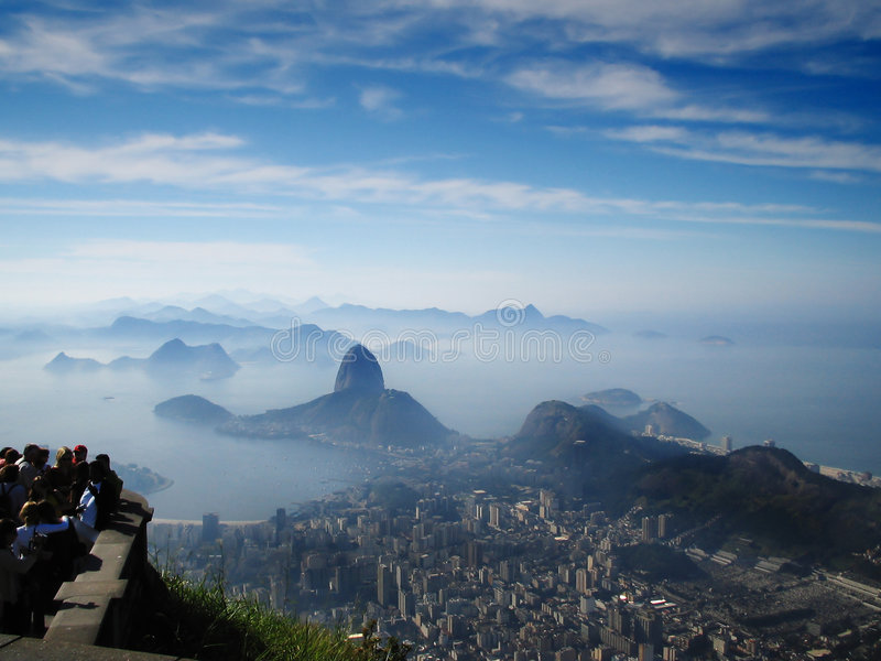 Sugarloaf mountain. Photo taken a the feet of the Christ the Redeemer statue aiming Sugarloaf mountain stock images