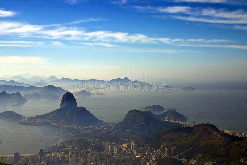 Sugarloaf mountain. Photo taken a the feet of the Christ the Redeemer statue aiming Sugarloaf mountain stock photography