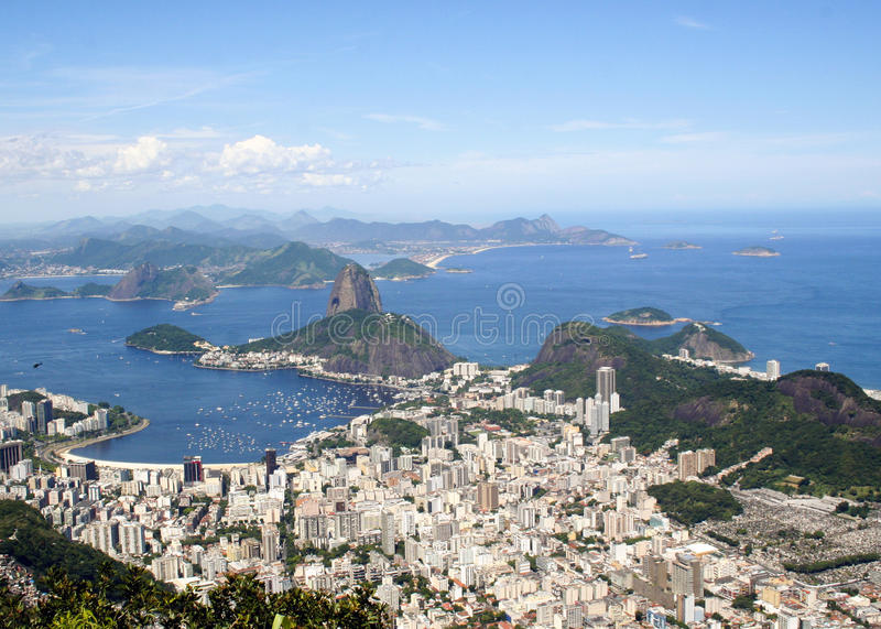 Sugarloaf Mountain. Arial view of Rio de Janiero Brazil Sugarloaf Mountain from Corcovado stock images