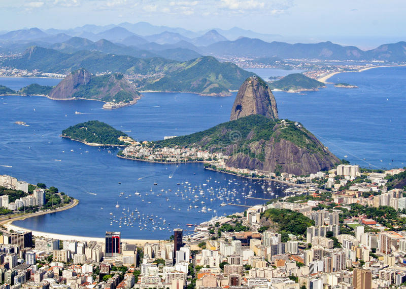 Sugarloaf Mountain. Arial view of Rio de Janiero Brazil Sugarloaf Mountain from Corcovado royalty free stock image