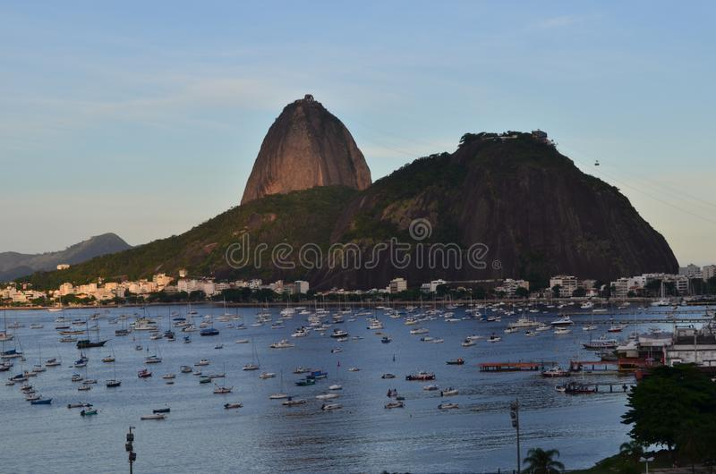 Rio de Janeiro, Brazil. Sugarloaf Mountain. Sugarloaf Mountain, a peak rising 396 meters and offers a bird's eye view of Rio de Janeiro from the mouth of stock images