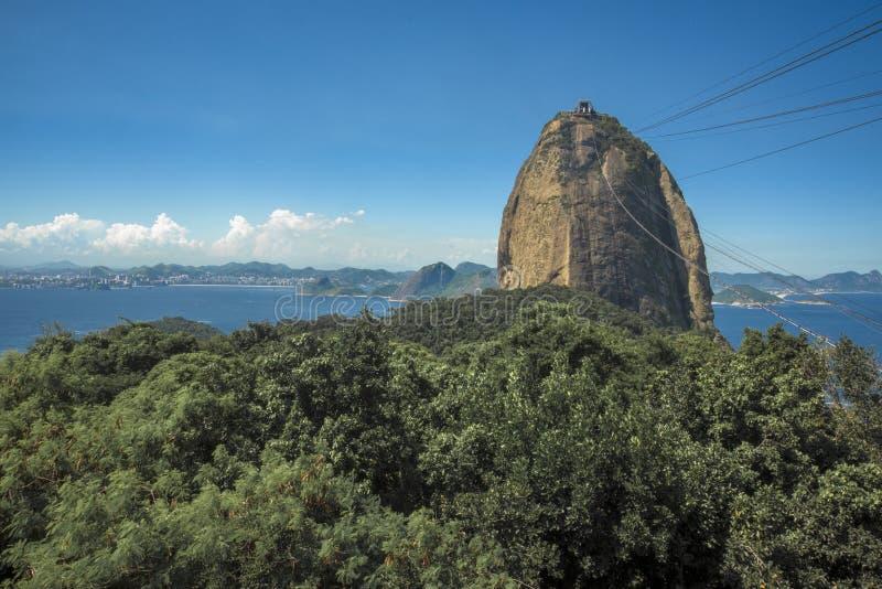 Rio de Janeiro, Brazil - March 28, 2016: View of Sugar Loaf, Corcovado, and Guanabara bay, Rio de Janeiro, Brazil royalty free stock photo