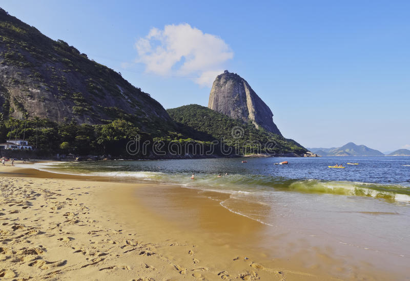 Sugarloaf Mountain in Rio. Brazil, City of Rio de Janeiro, Urca, View of the Praia Vermelha and the Sugarloaf Mountain stock photos