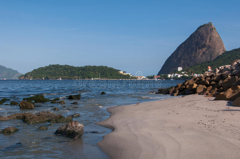 Sugarloaf Mountain. In Rio de Janeiro as Seen from Flamengo Park royalty free stock photos