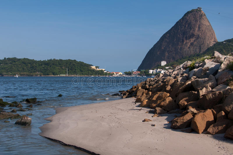 Sugarloaf Mountain. In Rio de Janeiro as Seen from Flamengo Park royalty free stock photo