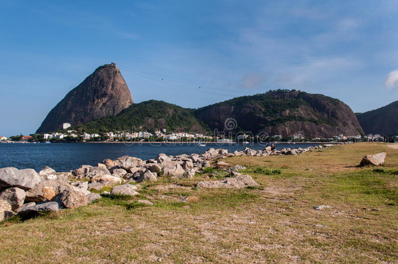 Sugarloaf Mountain. In Rio de Janeiro as Seen from Flamengo Park royalty free stock images