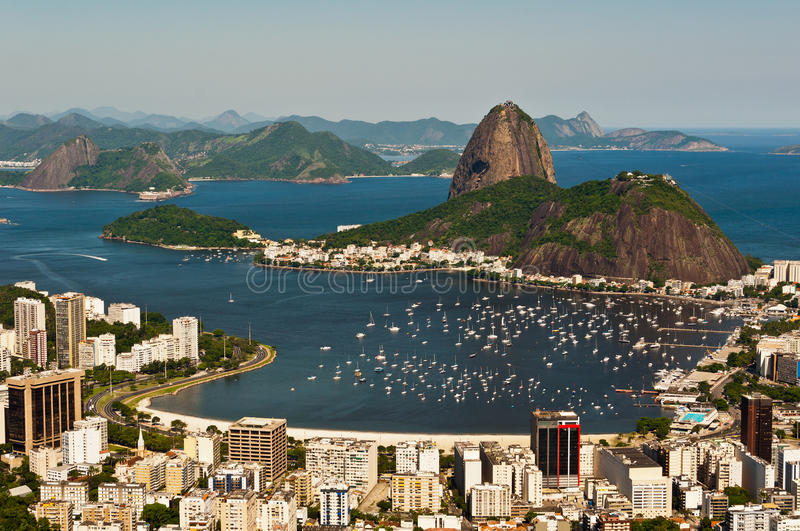 Sugarloaf Mountain, Rio de Janeiro, Brazil. Skyline of Rio de Janeiro with the Sugarloaf Mountain royalty free stock photography
