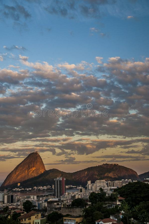 Sugar Loaf at sunset. A panoramic view of Sugar Loaf in Rio de Janeiro at sunset stock photography