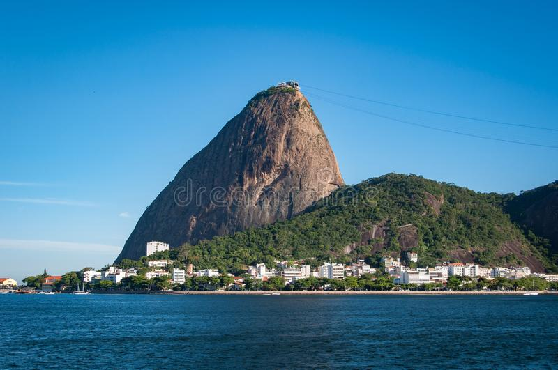 Sugarloaf Mountain in Rio de Janeiro. Sugarloaf Mountain, the famous natural landrmark of Rio de Janeiro, Brazil royalty free stock photo
