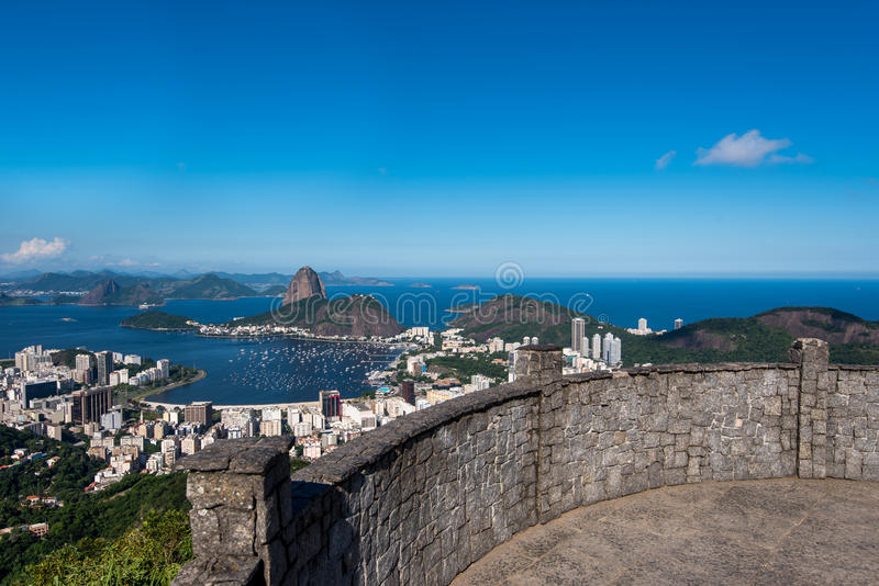 Sugarloaf Mountain View. Dona Marta Lookout Point with the Famous View of Rio de Janeiro City stock image