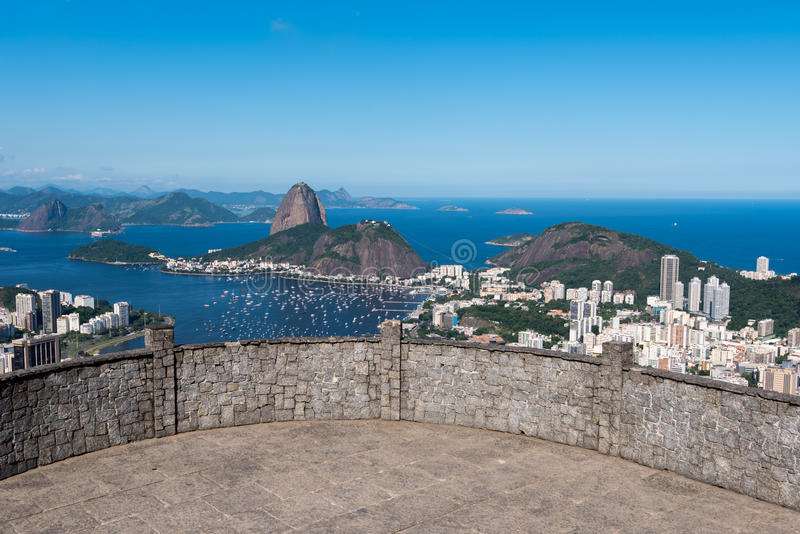 Sugarloaf Mountain View. Dona Marta Lookout Point with the Famous View of Rio de Janeiro City royalty free stock images