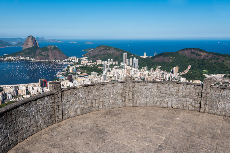 Sugarloaf Mountain View. Dona Marta Lookout Point with the Famous View of Rio de Janeiro City stock photo